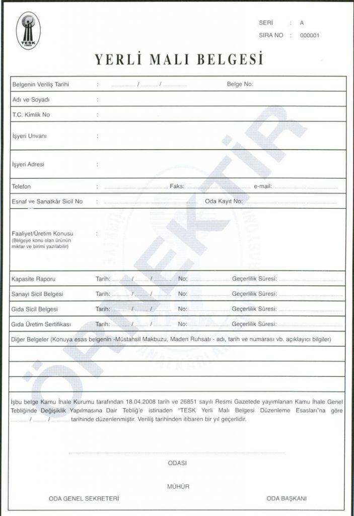 Domestic Goods Certificate